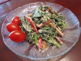 Kale with walnut sauce