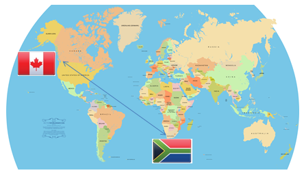 canada to south africa map